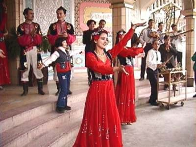 Ceremony dancing during the trip of Silk Road