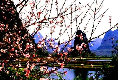 The scenery with hills and water in Guilin